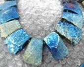Wholesale Pyrite Stone Electroplated Quartz Titanium Quartz Crystal Rainbow Gold Silver Blue Nuggets Rectangle Necklace  20-35mm full strand
