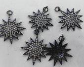 6pcs 28mm Handmade   Micro  Pave Diamond Pendant gunmetal Jewelry star Gold Silver Jewelry beads