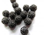 High Quality  100pcs 6-14mm,Micro Pave Crystal grey Shamballa Ball beads, Micro Pave Hematite Black Findings Charm, Round Ball Spacer