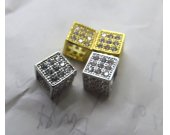 Large Hole--12pcs 8mm Micro Pave Diamond Connector  Drum Barrel Hexagon Cube Box Gunemtal  White Silver Spacer Beads Findings