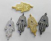 6pcs 12-25mm Cubic zircon hamsa hand CZ connector, CZ charm, Hamsa hand pendant, hamsa charm, Cubic zircon hand, jewelry charm, pendant