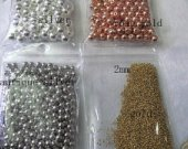 Top Quality--100pcs 2-10mm 24K Plated  seamless round beads,Round Ball Solid Brass Bead, Rose Gold,Silver Gunmetal Spacer beads