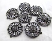 Black Diamond Crystal  Eyes  Micro Crystal Pave Diamond spacer beads Jewelry Focal   Round Disc Evil Jewelry beads 22mm 2pcs