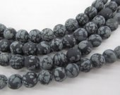 "Whoelsale 2strands 16"" Round Snowflake Obsidian Beads Jewelry making Beads disco matte stone  4\6\8\10\12mm"