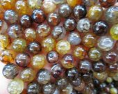 high quality 6-16mm Natural   Agate Gemstone Round Ball  Amber yellow Agate Jewelry Necklace beads