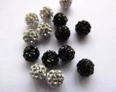 High Quality  100pcs 4-16mm,Micro Pave Crystal  Shamballa Ball beads, Micro Pave clear white  Black Findings Charm, Round Ball Spacer