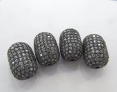 6pcs Top Quality Micro Pave Diamond  Connector, Pave Diamond CZ Spacer Jewelry Rice Drum Carved Bead 12x20mm