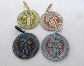 35mm Rainbow Diamond Crystal  Eyes  Micro Crystal Pave Diamond cross  Pendant gunmetal Jewelry Focal   Round Disc Evil Jewelry beads 2pcs