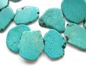 Top Drilled- Large blue Turquoise Gemstone slab stone beads mixed turquoise freeform Turquoise beads  40-60mm 2pcs