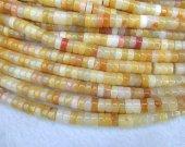 2strands Lemon Jade stone Gemstone heishi Slice Rondelle Loose beads yellow red jade Beads 8x4mm