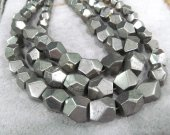 high quality Gold Iron Pyrite Nuggets Faceted Cubic  Pyrite Beads 6-15mm Pyrite Necklace Full strand 17""