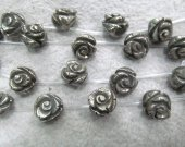 8-16mm Pyrite Rose Beads -Fluorial  Carved Fools Gold Top Drilled Beads, Iron Pyrite stone 16 inch strand