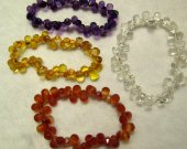 AAA Quality 6x9mm genuine clear white quartz  Amethyst -Citrine-Green- Red crystal  drops teardrop briolettes micro faceted  bracelet 8inch