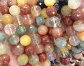 12mm Natural Rainbow quartz rock crsytal Gemstone round micro pave faceted  jewelry loose beads  necklace full strand 16""