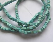 High Quality  2strands  Turquoise Gemstone  Cube Square Box Green blue Turquoise Beads 4-8mm