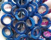 Sapphire blue agate Rose Red  agate  gemstone  Round Circle Donut  round onyx pendant beads focal 30-50mm Full strand