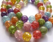 AA+ 2strands 4-16mm Natural Rainbow Crystal Quartz Gemstone Round Ball Rock cracked Beads jewelry for Make Necklace