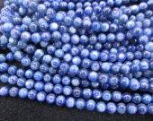 4-10mm full strand KYANITE Gemstone. Semi Precious Gemstone Bead. Smooth Blue Kyanite Gemstone round ball Beads