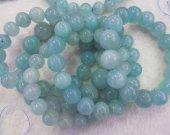 wholesale Amazonite beads Genuine Amazonite Gemstone  Round Ball  Bracelet Round transparent blue Jewelry Bracelet 8-16mm 8inch