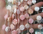genuine Conch Shell jewelry Pink Round  Carved Tulip Flower Rose Rondelle  Beads  Flower Beads  conch cabochons
