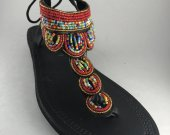 Sandals, beaded, leather, red, African style, Kenyan