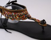 Sandals, gold, beaded, beads, leather African style, Kenyan