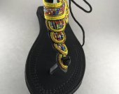 Colorful, yellow, sandals, leather, beaded African T-strap- colorful, Kenyan