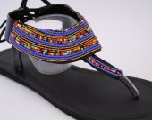 Sandals, blue, classy, beaded leather African style, kenyan