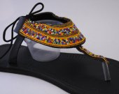 Sandals, orange, beaded, leather, blue beads, African style, kenyan