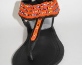Colorful, orange, sandals, leather, beaded African T-strap- colorful, kenyan