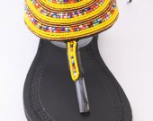 Sandals, yellow, black, beaded, beads, gold, African T-strap- Trendy, Kenyan
