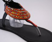 Sandals, red, beaded, leather, blue beads, African style, Kenyan
