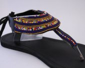 Sandals, blue, gold, beaded, beads, African, handmade, leather T-strap- Trendy, Kenyan