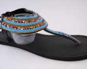 Sandals, beaded, leather, blue beads, African style, kenyan