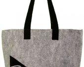 Large, gray shoulder bag, zipped, lined