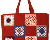 Handmade patchwork bag, very big, red, lined, zipped