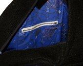 Designer handbag, octagon shape, black with colorful elements