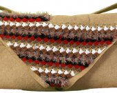 Messenger bag, beige with colorful crocheted panel