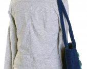 Handmade designer bag, dark blue with cherishes