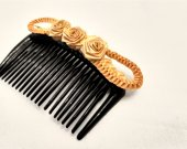 Wheat Straw Hair Comb Rose Design