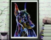 Doberman Dog Painting abstract Purple , Doberman painting Print , watercolor art  print Art Doberman gift idea Dobie art print
