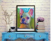 French Bulldog decor, Gift for frenchie owner, colorful wall art print, Frenchie decor, pet loss gift, French bulldog picture art print