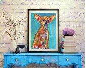 Chihuahua Dog Painting orange, Chihuahua Print , watercolor wall art  print Dog Art Chihuahua gift idea art print