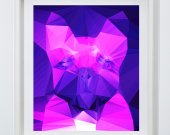 French bulldog Vivid Pink Purple Abstract art print, Cubist style, modern colorful dog art, wall art print home decor french bulldog art