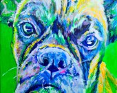 Colorful Boxer dog painting art print,Dog Portrait, Midnight blue, lilac yellow Print of acrylic dog painting, gift for Boxer dog owner