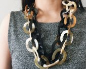 Handmade Natural Horn Geometric Chain Necklace
