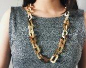 Handmade Natural Horn Geometrics Chain Necklace