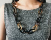 Handmade Natural Horn Two Styles Geometrics Chain Necklace