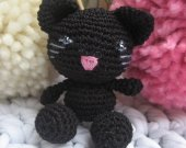 Black Kitty keychain amigurumi, kitty charm ,Tiny kitty,Kitty,Amigurumi,