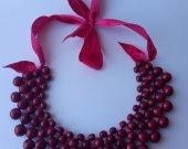 "Handmade ethnic wooden necklace ripe cherry color Beaded Necklace Wooden necklace Women""s necklace Ethnic necklace"